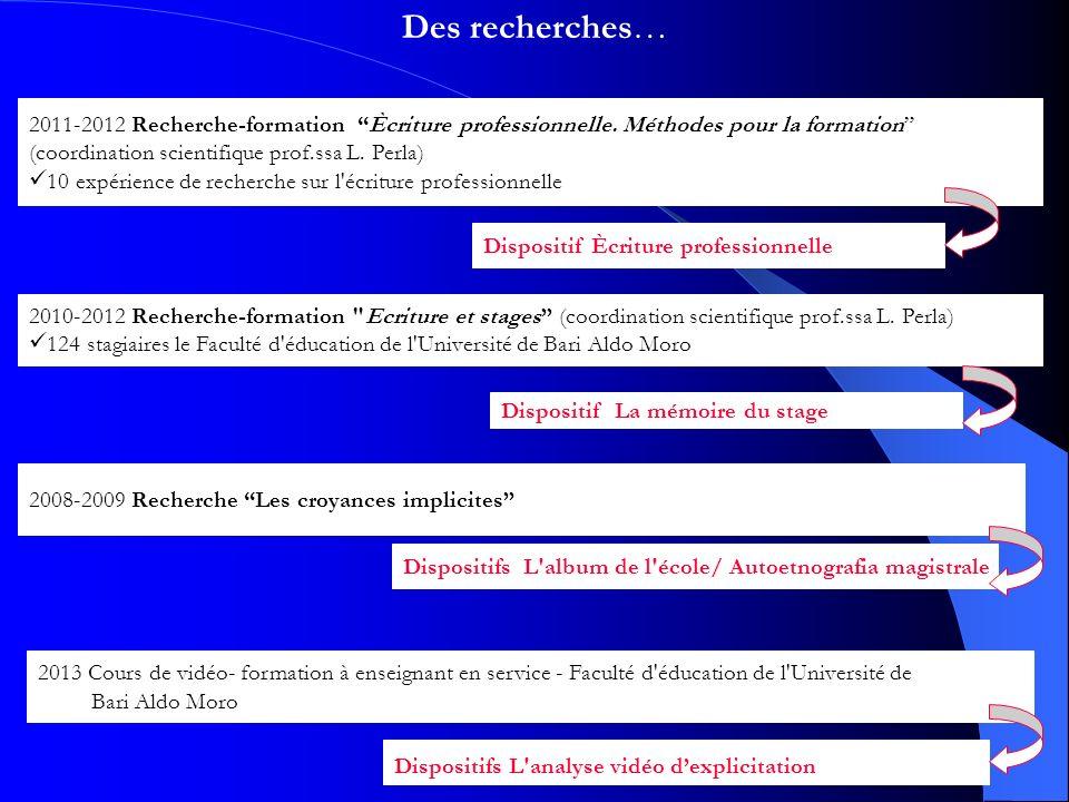 Des recherches… 2010-2012 Recherche-formation Ecriture et stages (coordination scientifique prof.ssa L.
