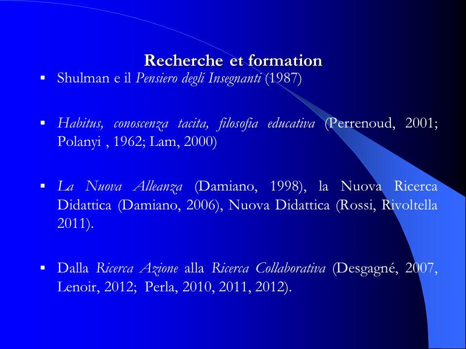 Recherche et formation Shulman e il Pensiero degli Insegnanti (1987) Habitus, conoscenza tacita, filosofia educativa (Perrenoud, 2001; Polanyi, 1962; Lam, 2000) La Nuova Alleanza (Damiano, 1998), la Nuova Ricerca Didattica (Damiano, 2006), Nuova Didattica (Rossi, Rivoltella 2011).