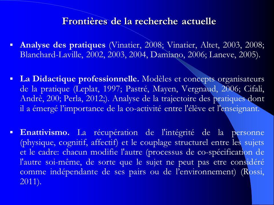 Frontières de la recherche actuelle Analyse des pratiques (Vinatier, 2008; Vinatier, Altet, 2003, 2008; Blanchard-Laville, 2002, 2003, 2004, Damiano, 2006; Laneve, 2005).