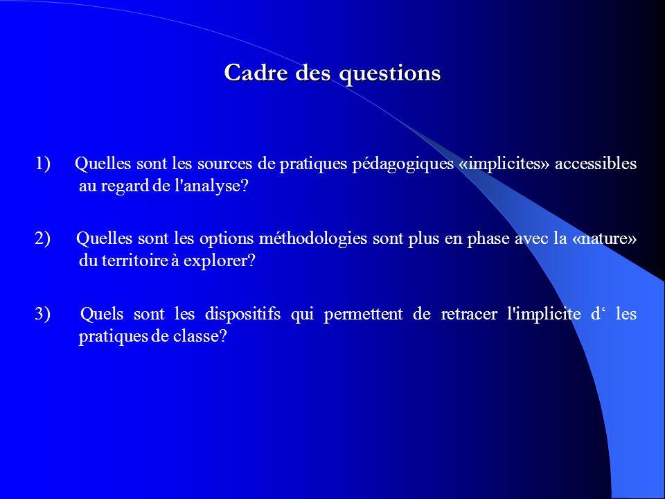 Cadre des questions 1) Quelles sont les sources de pratiques pédagogiques «implicites» accessibles au regard de l analyse.