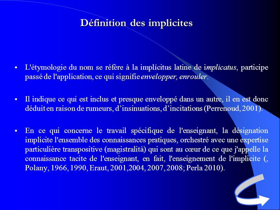 Définition des implicites L étymologie du nom se réfère à la implícitus latine de implicatus, participe passé de l application, ce qui signifie envelopper, enrouler.
