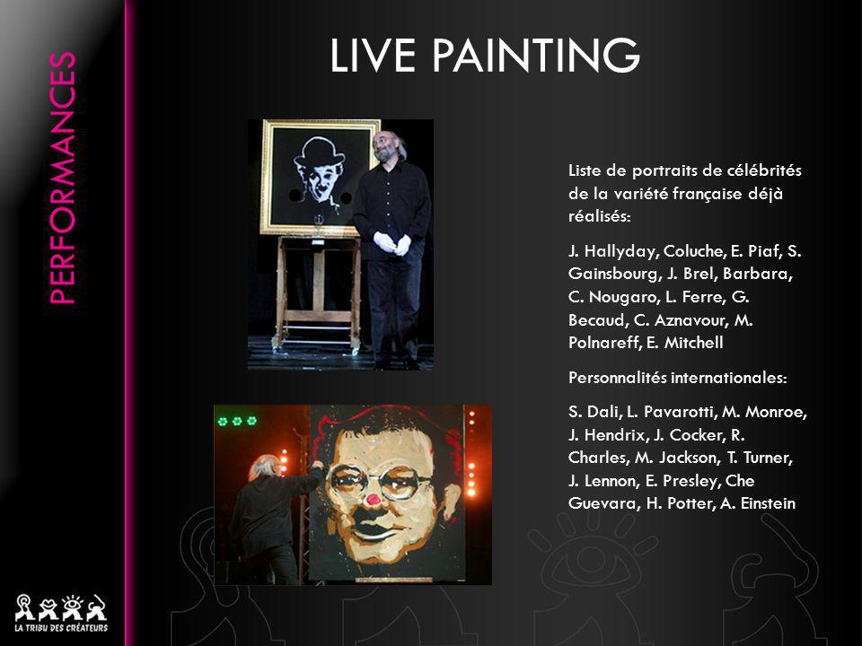 Liste de portraits de célébrités de la variété française déjà réalisés: J. Hallyday, Coluche, E. Piaf, S. Gainsbourg, J. Brel, Barbara, C. Nougaro, L.