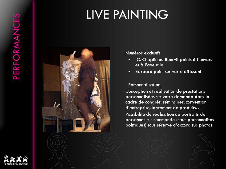 Numéros exclusifs C. Chaplin ou Bourvil peints à lenvers et à laveugle Barbara peint sur verre diffusant Personnalisation Conception et réalisation de