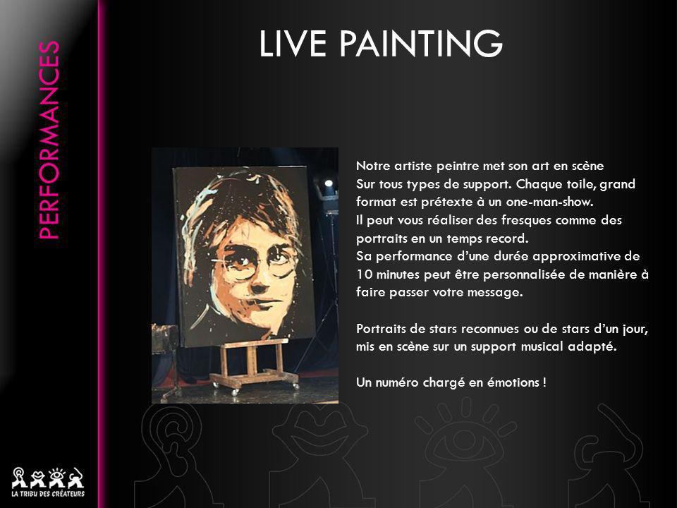 Notre artiste peintre met son art en scène Sur tous types de support. Chaque toile, grand format est prétexte à un one-man-show. Il peut vous réaliser