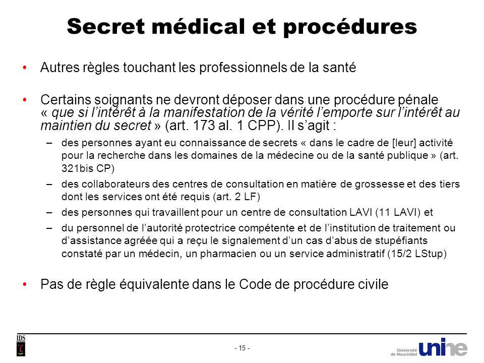 Secret médical et procédures Dautres professionnels de la santé, non soumis à larticle 321 CP mais tenus légalement à la confidentialité (35 LPD, droit cantonal), seront soumis à un autre régime encore (CPP et CPC) : 173 al.