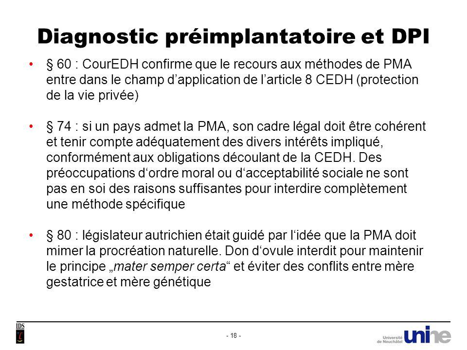 Diagnostic préimplantatoire et DPI § 81 : ce but certainly has its merits.