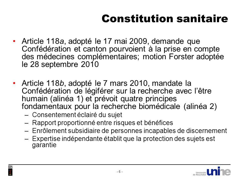 Constitution sanitaire Article 118c nouveau (médecine de famille) selon initiative ayant abouti le 27 avril 2010.