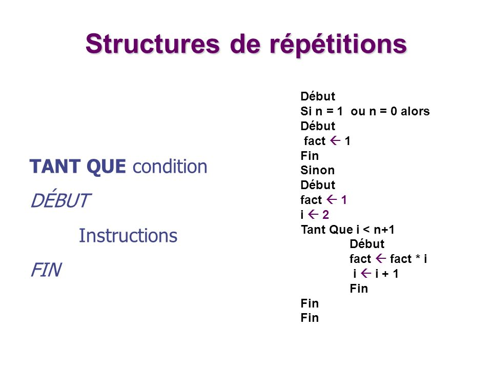 TANT QUE condition DÉBUT Instructions FIN Structures de répétitions Début Si n = 1 ou n = 0 alors Début fact 1 Fin Sinon Début fact 1 i 2 Tant Que i <