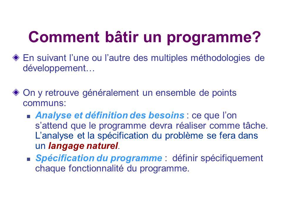 Conception: décomposition du programme en sous- problème (définition des modules du programme) ainsi que le développement des algorithmes nécessaires au fonctionnement du programme.