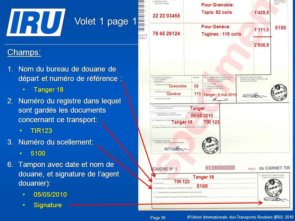 © Union Internationale des Transports Routiers (IRU) 2010 Champs: 1.Nom du bureau de douane de départ et numéro de référence : Tanger 18Tanger 18 2.Numéro du registre dans lequel sont gardés les documents concernant ce transport: TIR123TIR123 3.Numéro du scellement: 51005100 6.Tampon avec date et nom de douane, et signature de lagent douanier): 05/05/201005/05/2010 SignatureSignature Page 10 05.05.2010 Tanger 18 TIR 123 5100 Tanger 18 Tanger 06/05/2010 05.05.2010 TIR 123 05.05.2010 5100 Tanger Casa & Co 15, rue du Maroc MAR/085/1 ES/78686 Maroc (MAR) France (FRA), Suisse (CHE) MA 75 856900 Grenoble82 CMR: 1556549 CMR:75896457 Invoice: 2324-1057-45 Invoice : 4456-67 22 22 03455 78 65 29124 Pour Grenoble: Tapis: 82 colis Pour Genève: Tagines : 115 colis Tanger, 5 mai 2010 1425,5 1111,0 2536,5 Genève115 Volet 1 page 1