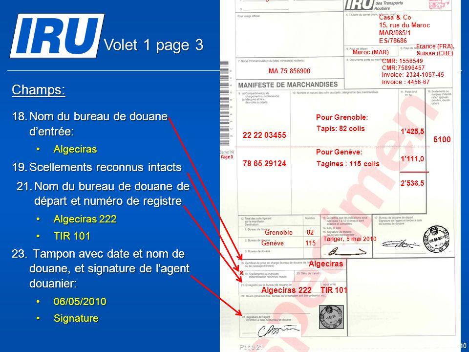 © Union Internationale des Transports Routiers (IRU) 2010 Champs: 18.Nom du bureau de douane dentrée: AlgecirasAlgeciras 19.Scellements reconnus intacts 21.Nom du bureau de douane de départ et numéro de registre Algeciras 222Algeciras 222 TIR 101TIR 101 23.