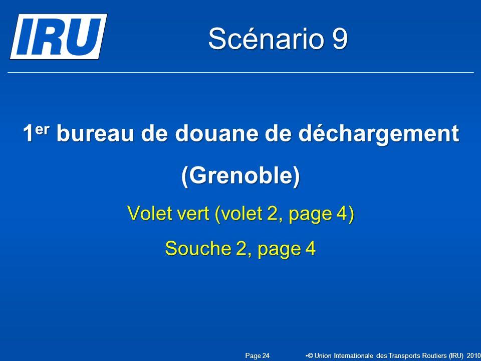 1 er bureau de douane de déchargement (Grenoble) Volet vert (volet 2, page 4) Souche 2, page 4 Page 24 © Union Internationale des Transports Routiers (IRU) 2010 Scénario 9