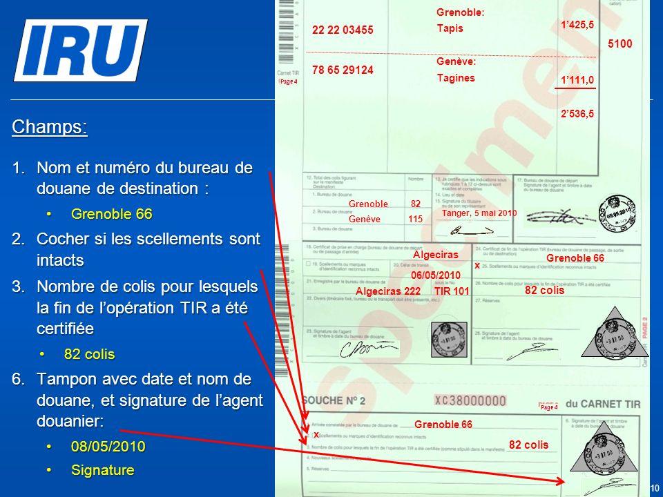 Page 27 © Union Internationale des Transports Routiers (IRU) 2010 Champs: 1.Nom et numéro du bureau de douane de destination : Grenoble 66Grenoble 66 2.Cocher si les scellements sont intacts 3.Nombre de colis pour lesquels la fin de lopération TIR a été certifiée 82 colis82 colis 6.Tampon avec date et nom de douane, et signature de lagent douanier: 08/05/201008/05/2010 SignatureSignature x x Grenoble 66 Algeciras Algeciras 222TIR 101 82 colis 05.05.2010 06/05/2010 05.05.2010 5100 Tanger Casa & Co 15, rue du Maroc MAR/085/1 ES/78686 Maroc (MAR) France (FRA), Suisse (CHE) MA 75 856900 Grenoble82 CMR: 1556549 CMR:75896457 Invoice: 2324-1057-45 Invoice : 4456-67 22 22 03455 78 65 29124 Grenoble: Tapis Genève: Tagines Tanger, 5 mai 2010 1425,5 1111,0 2536,5 Genève115