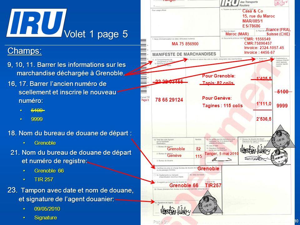 © Union Internationale des Transports Routiers (IRU) 2010 Champs: 9, 10, 11. Barrer les informations sur les marchandise déchargée à Grenoble. 16, 17.