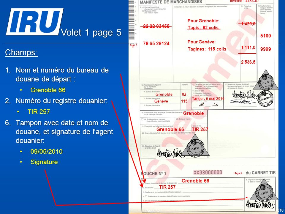 © Union Internationale des Transports Routiers (IRU) 2010 Champs: 1.Nom et numéro du bureau de douane de départ : Grenoble 66Grenoble 66 2.Numéro du registre douanier: TIR 257TIR 257 6.Tampon avec date et nom de douane, et signature de lagent douanier: 09/05/201009/05/2010 SignatureSignature Page 32 05.05.2010 Grenoble Grenoble 66 TIR 257 Grenoble 66 9999 05.05.2010 5100 Tanger Casa & Co 15, rue du Maroc MAR/085/1 ES/78686 Maroc (MAR) France (FRA) Suisse (CHE) MA 75 856900 Grenoble82 CMR: 1556549 CMR:75896457 Invoice: 2324-1057-45 Invoice : 4456-67 22 22 03455 78 65 29124 Pour Grenoble: Tapis : 82 colis Pour Genève: Tagines : 115 colis Tanger, 5 mai 2010 1425,5 1111,0 2536,5 Genève115 Volet 1 page 5