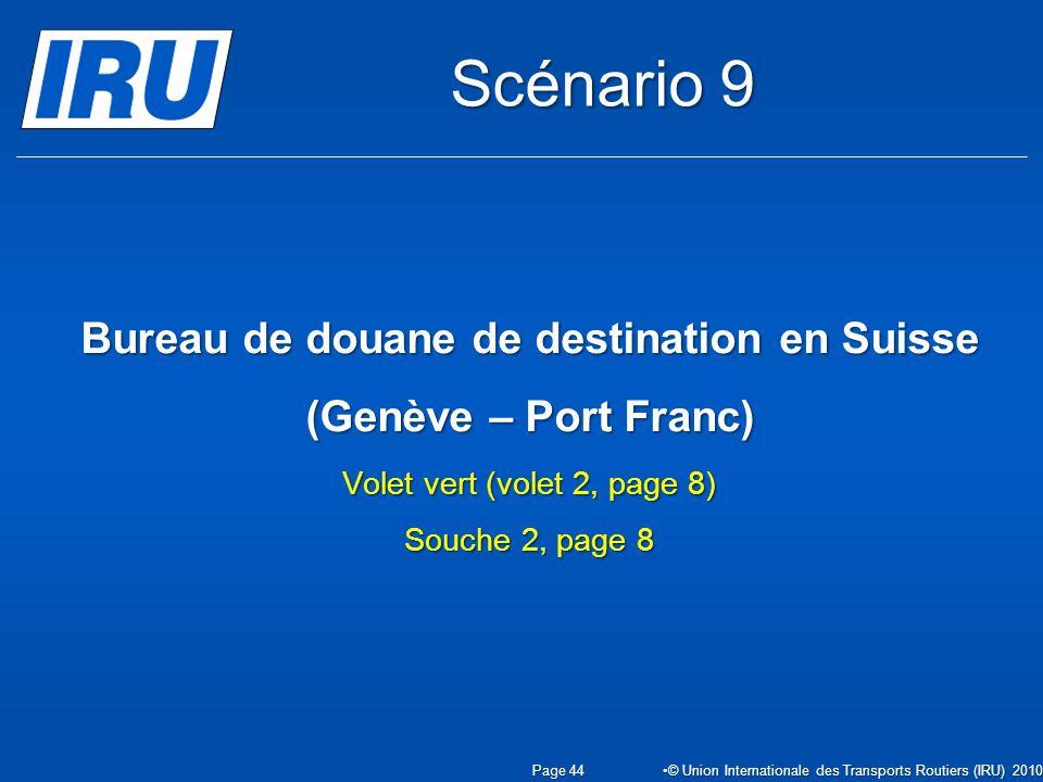 Bureau de douane de destination en Suisse (Genève – Port Franc) Volet vert (volet 2, page 8) Souche 2, page 8 Page 44 © Union Internationale des Transports Routiers (IRU) 2010 Scénario 9