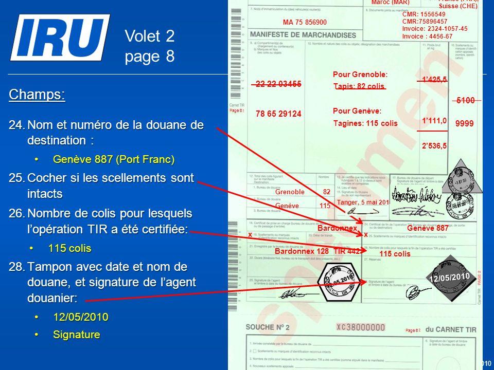 Page 46 © Union Internationale des Transports Routiers (IRU) 2010 Champs: 24.Nom et numéro de la douane de destination : Genève 887 (Port Franc)Genève 887 (Port Franc) 25.Cocher si les scellements sont intacts 26.Nombre de colis pour lesquels lopération TIR a été certifiée: 115 colis115 colis 28.Tampon avec date et nom de douane, et signature de lagent douanier: 12/05/201012/05/2010 SignatureSignature Genève 887 x Bardonnex Bardonnex 128TIR 442 05.05.2010 9999 05.05.2010 5100 Tanger Casa & Co 15, rue du Maroc MAR/085/1 ES/78686 Maroc (MAR) France (FRA), Suisse (CHE) MA 75 856900 Grenoble82 CMR: 1556549 CMR:75896457 Invoice: 2324-1057-45 Invoice : 4456-67 22 22 03455 78 65 29124 Pour Grenoble: Tapis: 82 colis Pour Genève: Tagines: 115 colis Tanger, 5 mai 2010 1425,5 1111,0 2536,5 Genève115 x 12/05/2010 12.05.2010 115 colis Volet 2 page 8