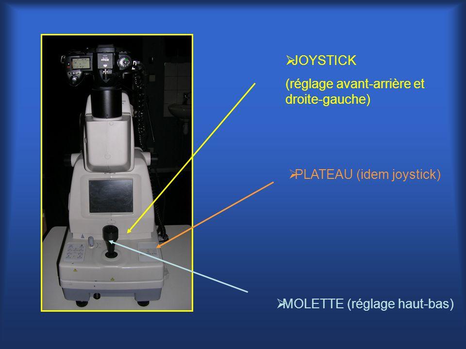 JOYSTICK (réglage avant-arrière et droite-gauche) PLATEAU (idem joystick) MOLETTE (réglage haut-bas)