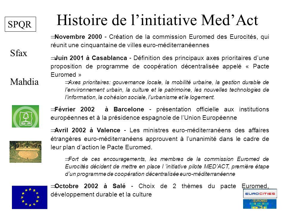 Mahdia Sfax MedAct est un projet che sinscrit dans les activités de Euromed Pacte et est cofinancié da part de la Commission Européenne MedAct is a projet is part of the activities promoted by Euromed Pacte and is cofinanced by the European Commission 2 SPQR Histoire de linitiative MedAct Novembre 2000 - Création de la commission Euromed des Eurocités, qui réunit une cinquantaine de villes euro-méditerranéennes Juin 2001 à Casablanca - Définition des principaux axes prioritaires dune proposition de programme de coopération décentralisée appelé « Pacte Euromed » Axes prioritaires: gouvernance locale, la mobilité urbaine, la gestion durable de lenvironnement urbain, la culture et le patrimoine, les nouvelles technologies de linformation, la cohésion sociale, lurbanisme et le logement.