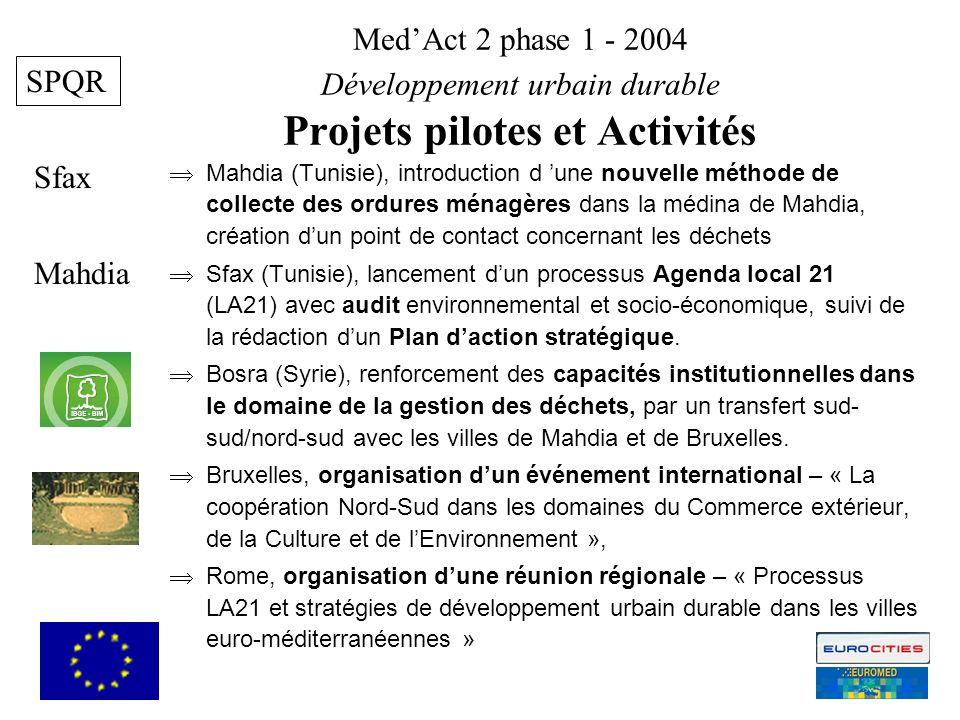 MedAct 2 phase 1 - 2004 Développement urbain durable Projets pilotes et Activités Mahdia Sfax 5 SPQR Mahdia (Tunisie), introduction d une nouvelle méthode de collecte des ordures ménagères dans la médina de Mahdia, création dun point de contact concernant les déchets Sfax (Tunisie), lancement dun processus Agenda local 21 (LA21) avec audit environnemental et socio-économique, suivi de la rédaction dun Plan daction stratégique.