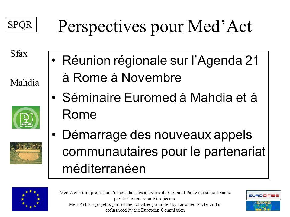 Perspectives pour MedAct Réunion régionale sur lAgenda 21 à Rome à Novembre Séminaire Euromed à Mahdia et à Rome Démarrage des nouveaux appels communautaires pour le partenariat méditerranéen Mahdia Sfax MedAct est un projet qui sinscrit dans les activités de Euromed Pacte et est co-financé par la Commission Européenne MedAct is a projet is part of the activities promoted by Euromed Pacte and is cofinanced by the European Commission 9 SPQR