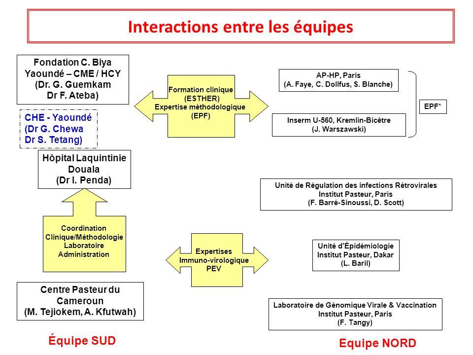 Interactions entre les équipes Centre Pasteur du Cameroun (M. Tejiokem, A. Kfutwah) Fondation C. Biya Yaoundé – CME / HCY (Dr. G. Guemkam Dr F. Ateba)