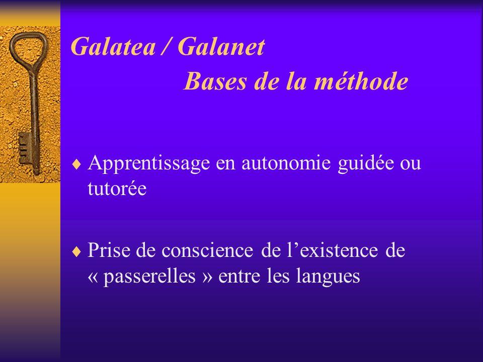 Galatea / Galanet Bases de la méthode Apprentissage en autonomie guidée ou tutorée Prise de conscience de lexistence de « passerelles » entre les lang