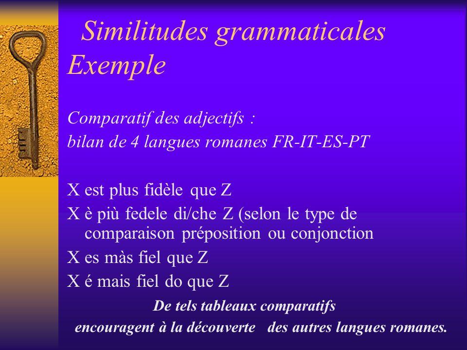 Similitudes grammaticales Exemple Comparatif des adjectifs : bilan de 4 langues romanes FR-IT-ES-PT X est plus fidèle que Z X è più fedele di/che Z (s
