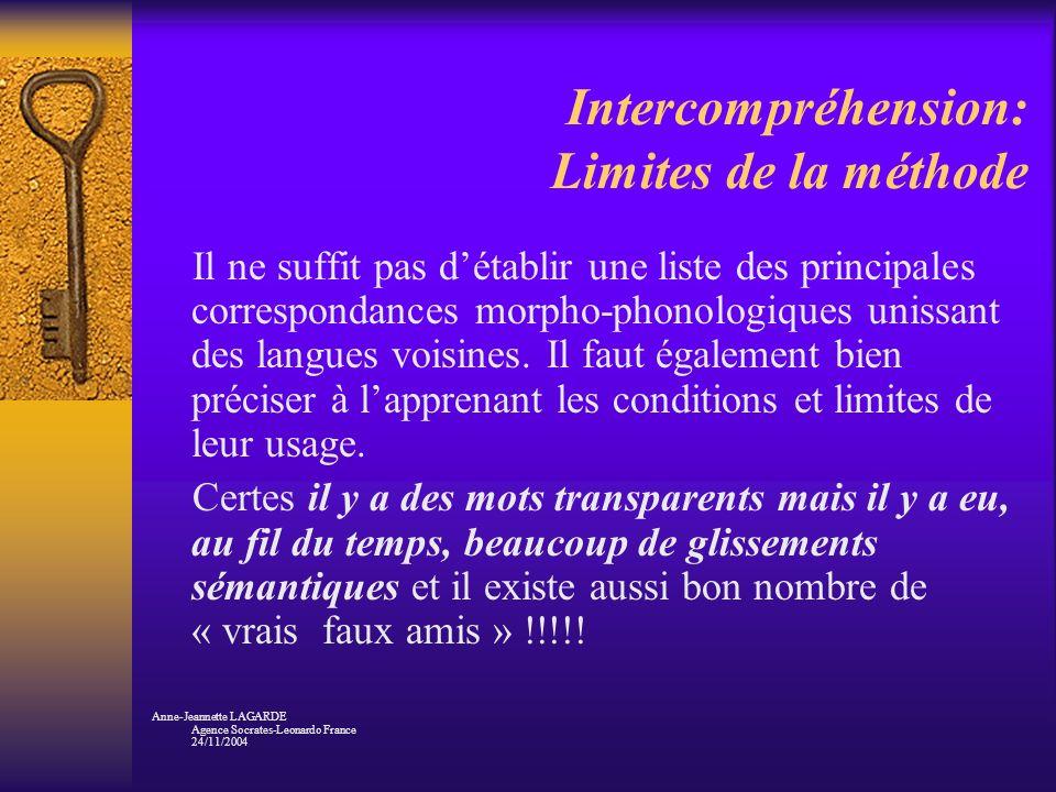 Intercompréhension: Limites de la méthode Il ne suffit pas détablir une liste des principales correspondances morpho-phonologiques unissant des langue