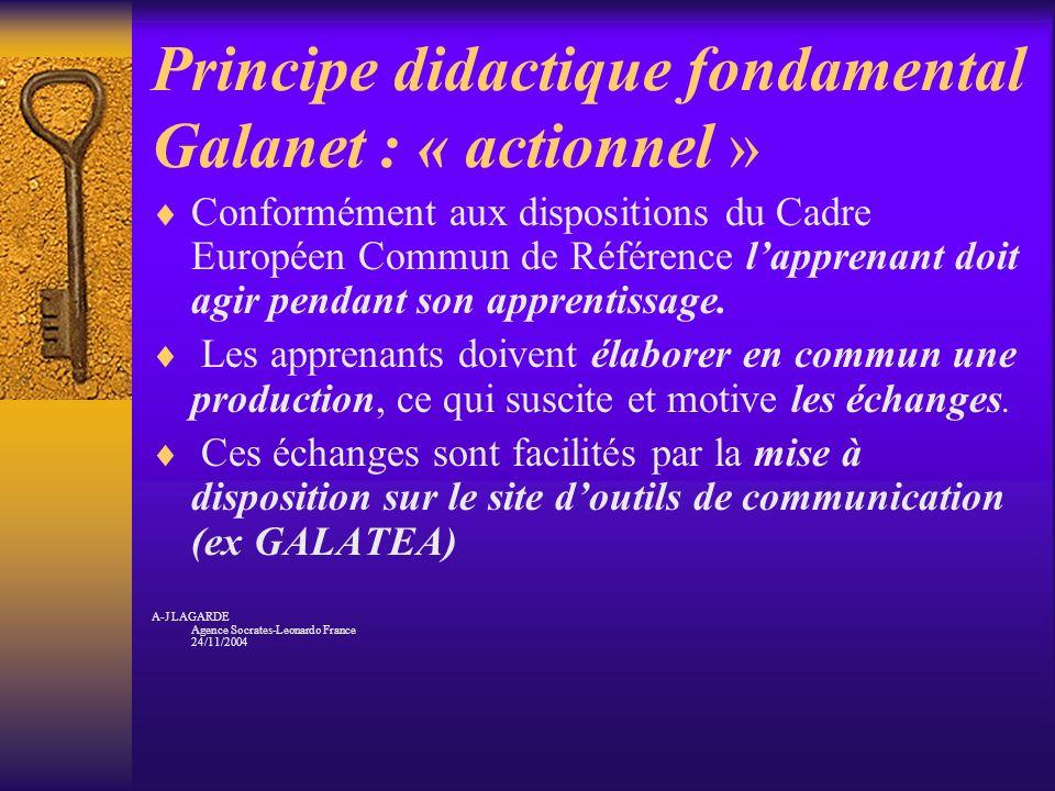 Principe didactique fondamental Galanet : « actionnel » Conformément aux dispositions du Cadre Européen Commun de Référence lapprenant doit agir penda