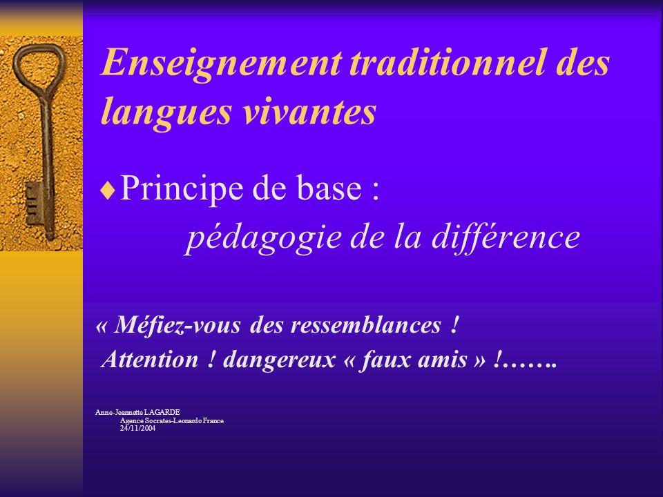 Enseignement traditionnel des langues vivantes Principe de base : pédagogie de la différence « Méfiez-vous des ressemblances ! Attention ! dangereux «