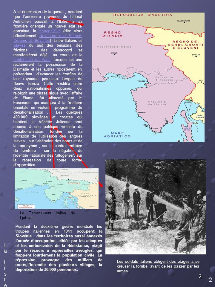 2 2 Des tranchées italiennes. La liste des lieux de bataille sur le Carso.La liste des lieux de bataille sur le Carso. Pendant la deuxième guerre mond