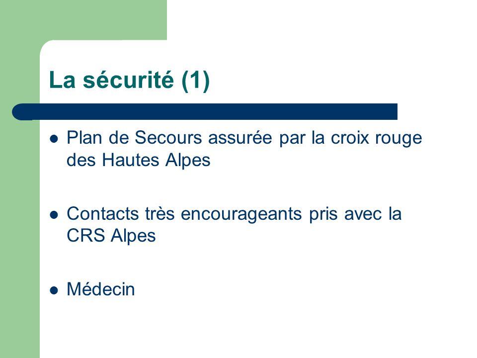 La sécurité (1) Plan de Secours assurée par la croix rouge des Hautes Alpes Contacts très encourageants pris avec la CRS Alpes Médecin