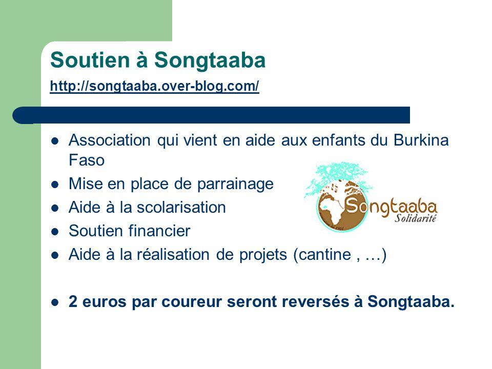 Soutien à Songtaaba http://songtaaba.over-blog.com/ http://songtaaba.over-blog.com/ Association qui vient en aide aux enfants du Burkina Faso Mise en place de parrainage Aide à la scolarisation Soutien financier Aide à la réalisation de projets (cantine, …) 2 euros par coureur seront reversés à Songtaaba.