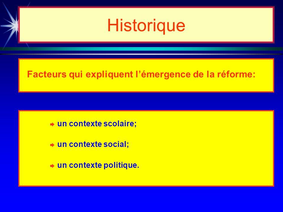 Historique è Facteurs qui expliquent lémergence de la réforme: è un contexte scolaire; è un contexte social; è un contexte politique.