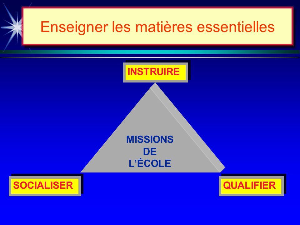 Le groupe INCHAUSPÉ recommande... Réaffirmer les trois (3) missions de lécole tout en donnant priorité à celle dINSTRUIRE ÉDUQUER lintelligence Enseig