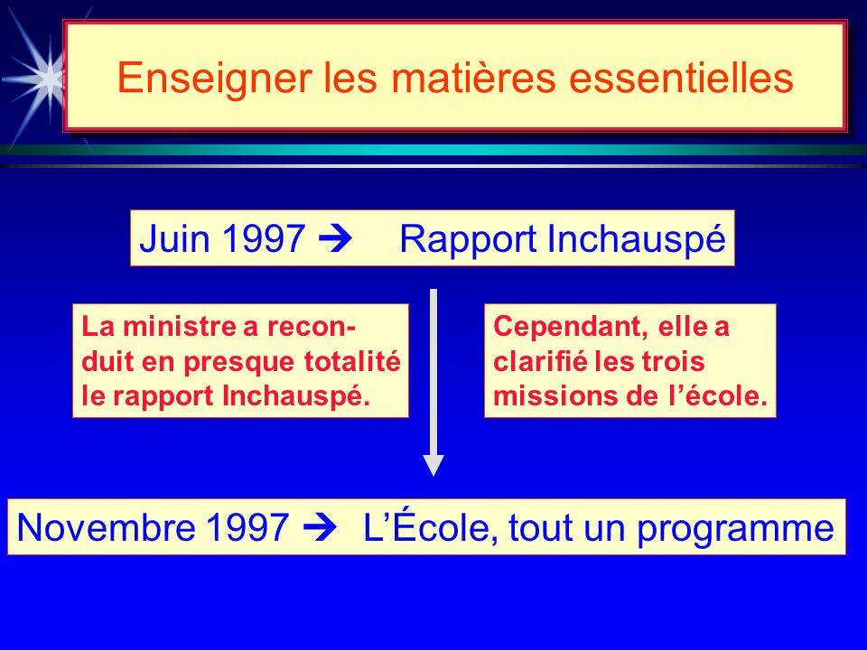 MISSIONS DE LÉCOLE INSTRUIRE QUALIFIER SOCIALISER Enseigner les matières essentielles