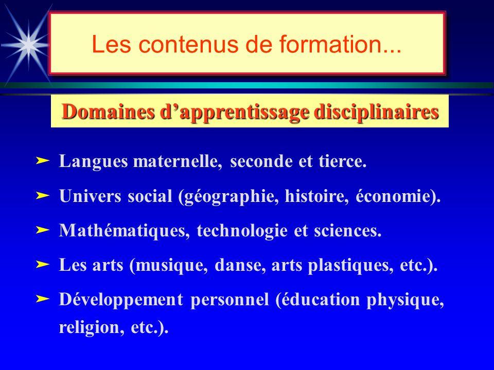 Les contenus de formation... Contenus de formation Domaines dapprentissage disciplinaires Domaines dexpérience de vie