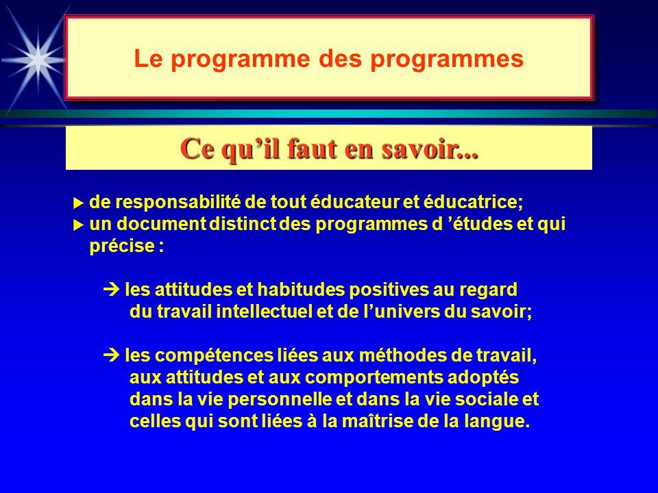 Le programme des programmes…sa visée... äLexercice des compétences transversales, cest-à-dire la capacité de transposer dans différents domaines dacti