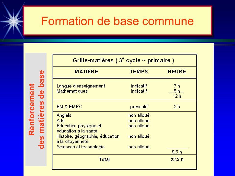 Formation de base commune Renforcement des matières de base