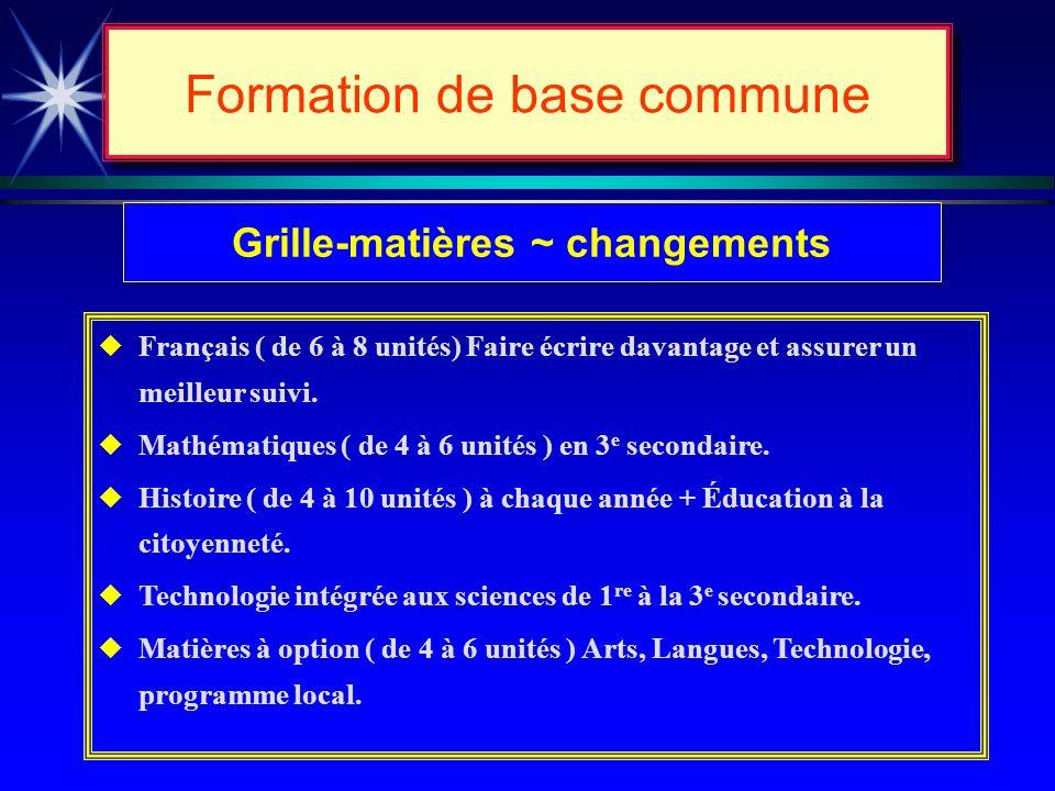 Formation de base commune Buts de lenseignement 4 e cycle (secondaire) u Compléter la formation de base commune (période dapprofondissement). u Faire