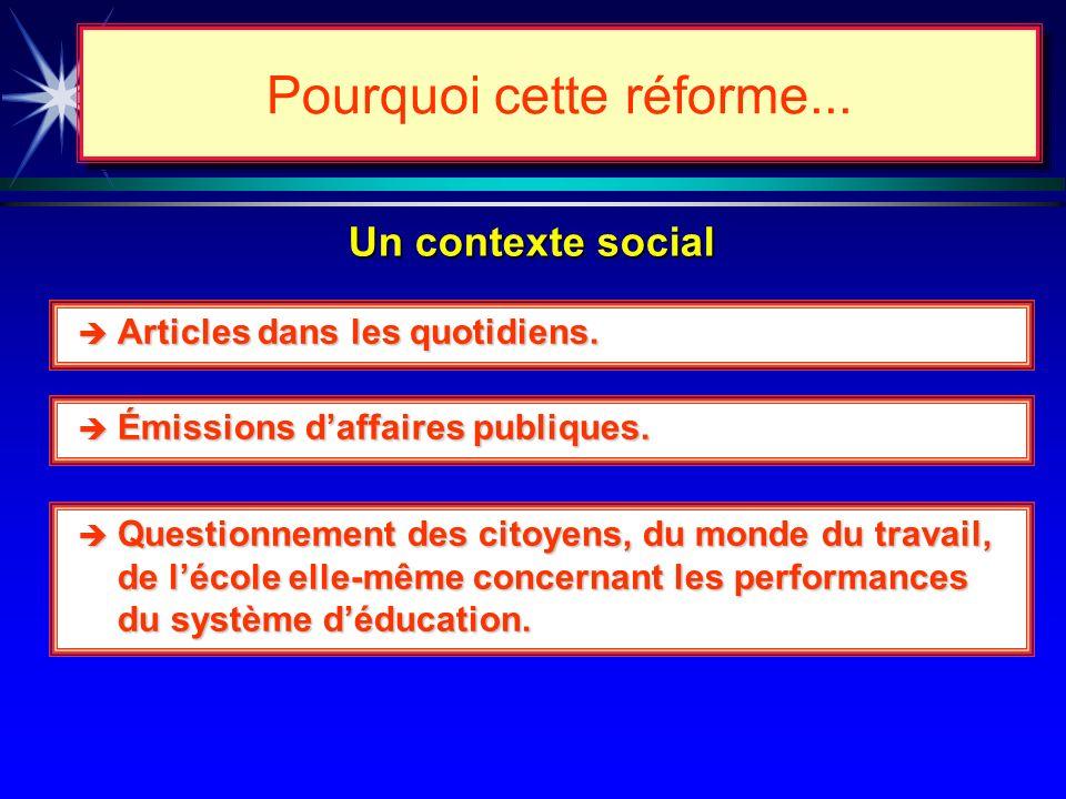 Un contexte scolaire (conclusion ) Pourquoi cette réforme...