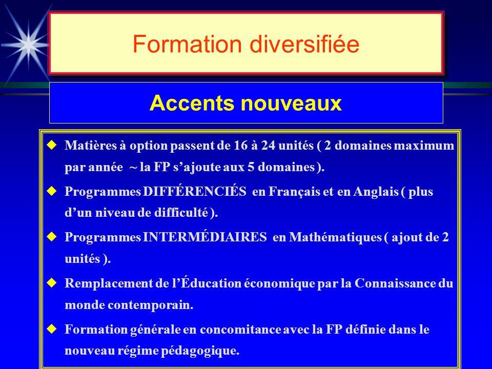 Formation diversifiée Buts de lenseignement 5 e cycle (secondaire) u Consolidation de la formation de base et établissement dun tronc commun ( langues