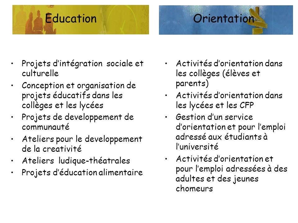 EducationOrientation Projets dintégration sociale et culturelle Conception et organisation de projets éducatifs dans les collèges et les lycées Projet