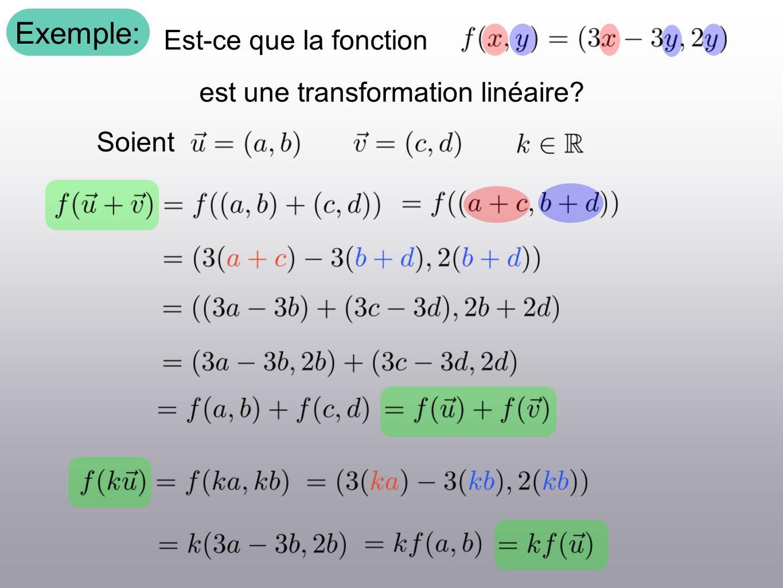 Exemple: Est-ce que la fonction est une transformation linéaire? Soient