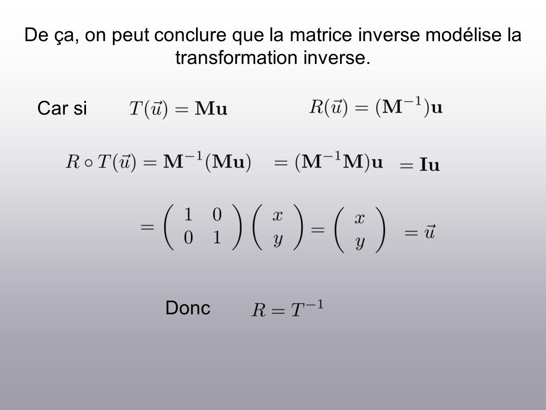 De ça, on peut conclure que la matrice inverse modélise la transformation inverse. Car si Donc