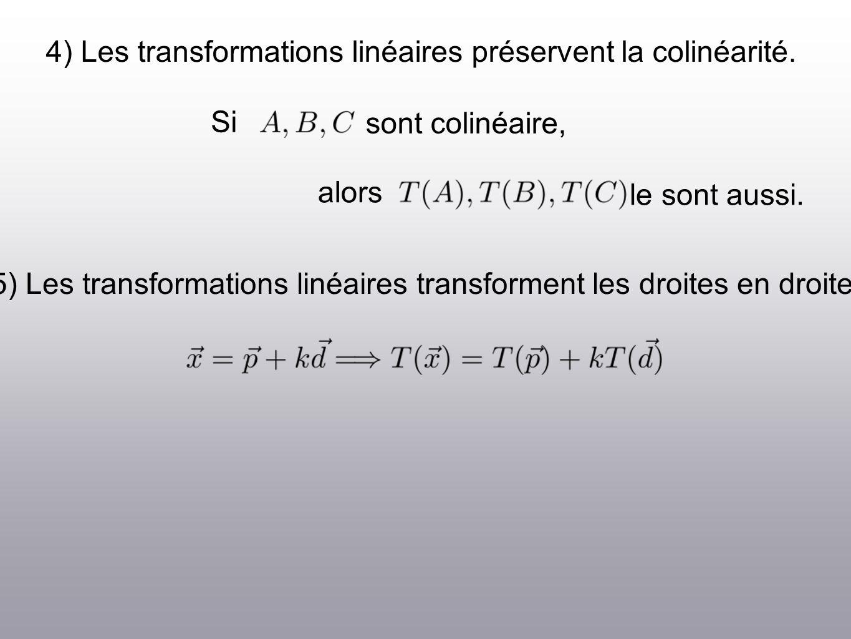 4) Les transformations linéaires préservent la colinéarité.