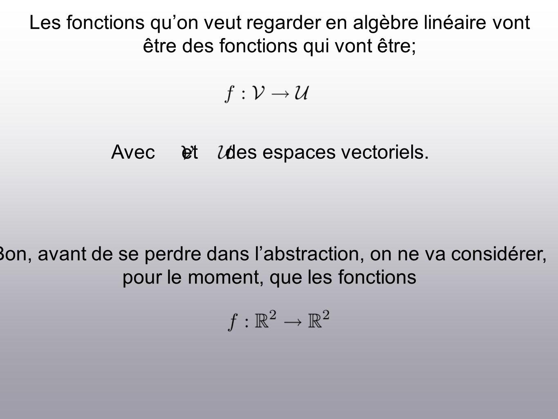 Les fonctions quon veut regarder en algèbre linéaire vont être des fonctions qui vont être; Avec et des espaces vectoriels.
