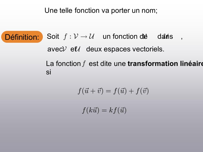 Définition: Une telle fonction va porter un nom; Soit un fonction de dans, avec et deux espaces vectoriels.