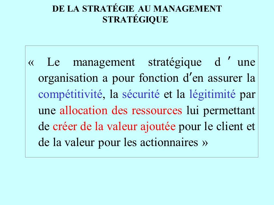 DE LA STRATÉGIE AU MANAGEMENT STRATÉGIQUE « Le management stratégique dune organisation a pour fonction den assurer la compétitivité, la sécurité et l
